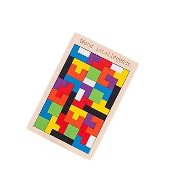 Baby Wooden Tetris Puzzles, Tangram, Colorful Deformation Jigsaw Board