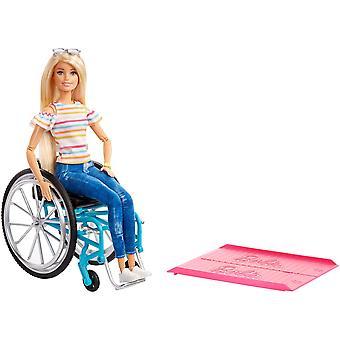 Barbie ggl22 bábika a invalidný vozík, blondínka