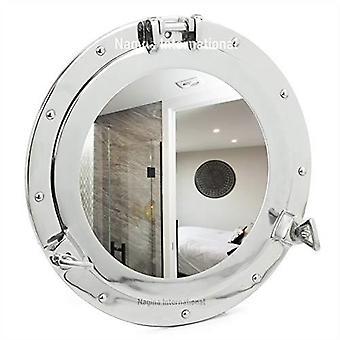 50cm plata metal redondo puerto náutico agujero pared colgante espejo