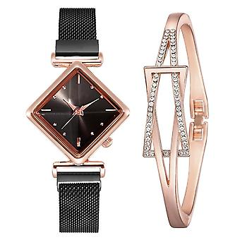 Luxury Creative Simple Quartz Watch Women's Dress Steel Mesh New Clock Bracelet