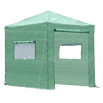 Outsunny Portable Walk in Pop-up Greenhouse Outdoor for Plants Garden Foldable with Carrying Bag , PE Cover, Steel Frame, Green, 2.4L x 1.8W x 2.4H m