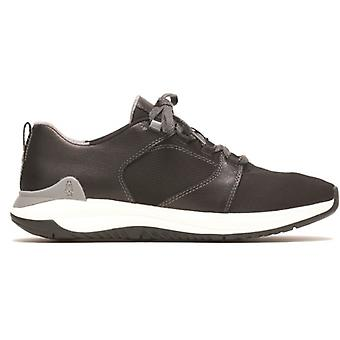 Hush Puppies Felix Mens Leather Trainers Noir