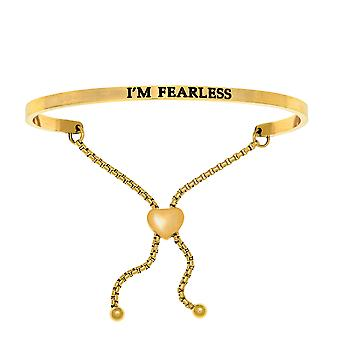 Intuitions Stainless Steel I'M FEARLESS Diamond Accent Adjustable Bracelet