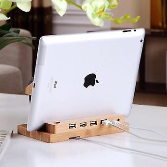 Estação de acoplamento de bambu com 4 portas USB