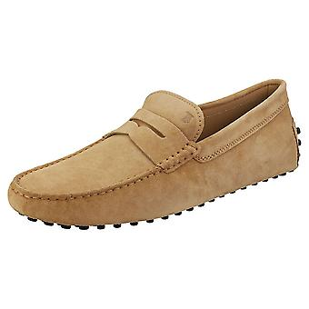 TOD'S Gommino Mens Loafer Shoes in Biscotto