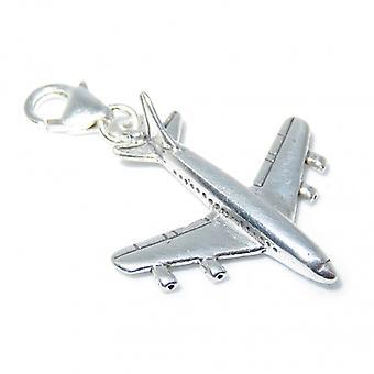 707 Jumbo Jet Aeroplane Sterling Silver Clip On Charm .925 X 1 - 8270