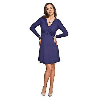 Long Sleeve Maternity Dress - Dark Blue
