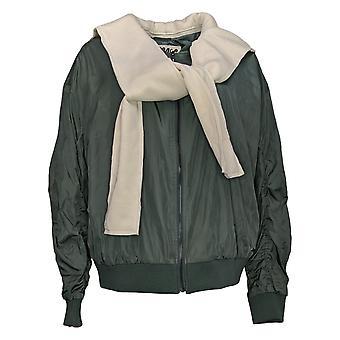 Peace Love World Women's Jacket Hooded Bomber Green A372084