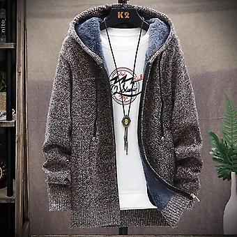 Winter Men's Knitted Thicken Coats, Male Sweater, Casual Keep Warm Cardigan
