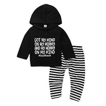 New Casual Newborn Baby Print Letter Hoodie Shirt Tops+striped Pants Clothes