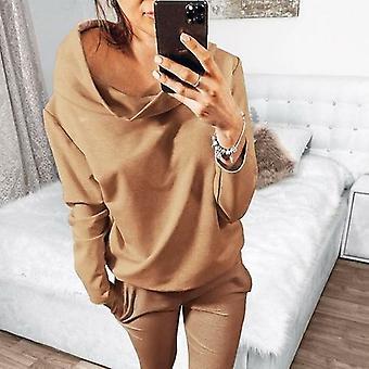 Women Solid Color Loose Pullover Sweatshirt