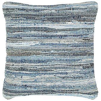 vidaXL وسادة دينيم شيندي الأزرق 60 × 60 سم القطن