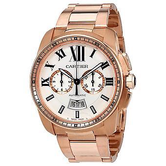 Cartier Calibre de Cartier Automatic Silver Dial 18kt Pink Gold Men's Watch W7100047