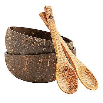 4 Stück natürliche Kokosschale & Löffel Set Eco Friendly Acai Schalen braun