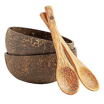 4 peças natural coconut bowl & spoon set Eco Friendly Açaí Bowls Brown