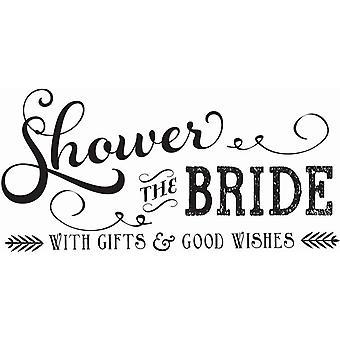 Hampton Art Wood Mounted Stamp - Shower Bride