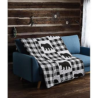 Spura Home Pictorial Buffalo Plaid Black Primitive Novelty Quilted Throw