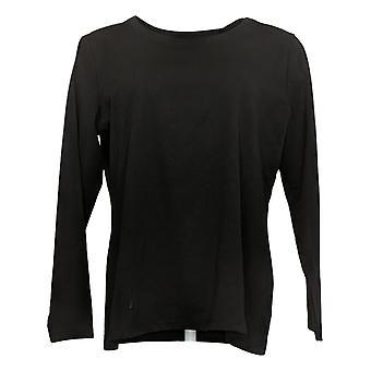Susan Graver Women's Top Essentials Cool Cotton Long -Sleeve Black A380256