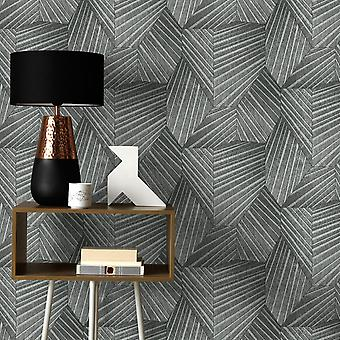 Elle Decoration Geometric D Triangle Wallpaper Black Silver 1015247