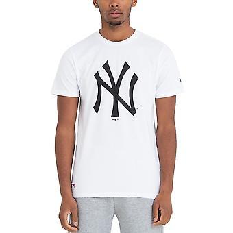 ニューエラ メンズ ニューヨーク ヤンキース チーム ロゴ クルー ネック T シャツ トップ ティー - ホワイト