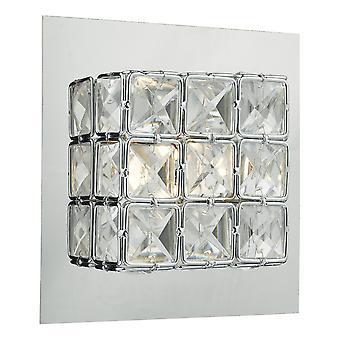 DAR IMOGEN Wandleuchte LED Glas facettierte Quadrate poliert Chrom Rahmen