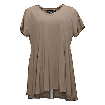 Women With Control Women's Petite Top Como Jersey Knit Godet Brown A394272