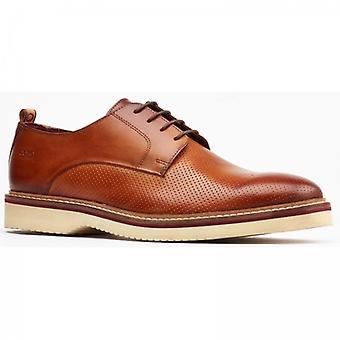 Base London Grady Mens Leather Derby Shoes Tan