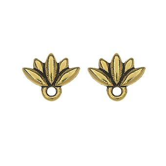 Earring Posts, Lotus Flower 9.5x11.5mm, 1 Pair, Gold Plated, by TierraCast