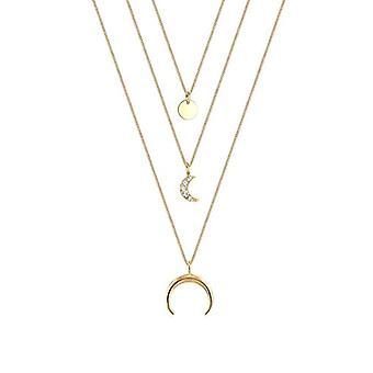Elli Kvinders halskæde Half Moon Trend Lag med Swarovski Krystaller i Sterling Silver 925 (2)