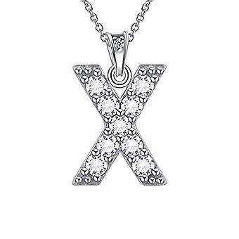 Besilver FP0073A - Letter-shaped pendant necklace of the alphabet, in Sterling Silver 925, with Crystals, with Ref monogram. 8431228533933