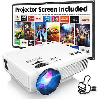FengChun HI-04 Projektor mit Projektionsbildschirm 1080P Full HD unterstützt, aktualisiert 6000 Lumen Video