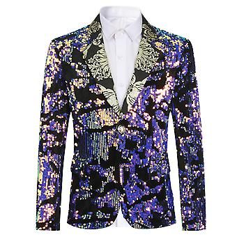 Mile Boy's Suit Jacket Pink Sequin Casual Slim Fit Blazer For Speech Performance Party Wedding
