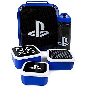 Bolsa de almuerzo de PlayStation | Bolsa de cena escolar de 5 piezas, botella de agua gratis de BPA y 3 botes de bocadillos | Black Blue Gamer Food Container One Size