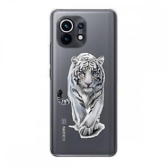 Hülle für Xiaomi Mi 11 Weich Silikon 1 Mm, Weißer Tiger