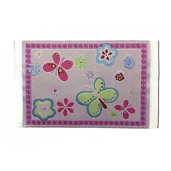 Dolls House Pink Butterfly Rug Mat Miniature Nursery Child's Room Acessório 1:12