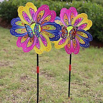 3d Butterfly Flower Windmill, Multicolor Flower Wind Spinner, Garden Yard