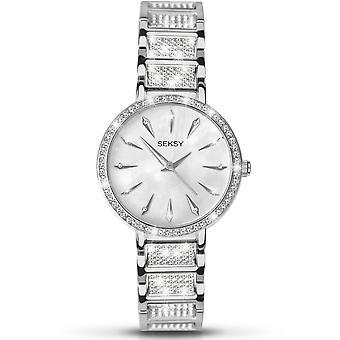 Seksy 2371 Stone Set Mother Of Pearl & Silver Brass Steel Ladies Watch
