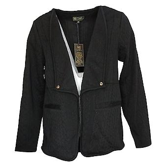 DG2 by Diane Gilman Women's Cable Knit French Terry Jacket Black 740978