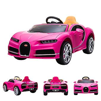 ES-Toys Kids Elbil Bugatti Chiron Lädersäte EVA Däck Stötdämpare rosa