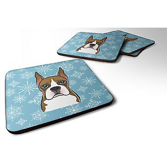 Caroline's Treasures BB1657FC Snowflake Boxer Foam Coasters (Set di 4), 3.5, Multicolor