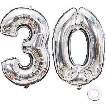 Luftballon Zahl 30 Silber Geburtstag Folienballon Helium Folie Luftballons für Geburtstag Jubiläum