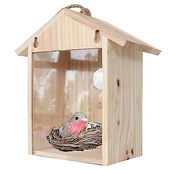 Casa creativa de pájaros de madera montada en la pared con decoración de jardinería Bird's Solid  Jaulas y nidos de aves