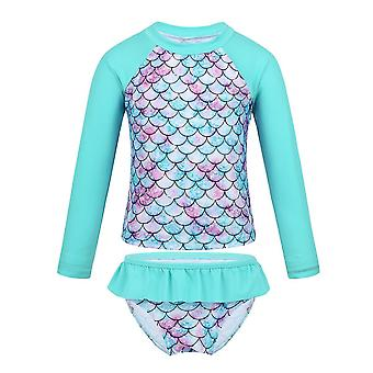 Baby Long Sleeve Fish Scales Pattern Swimwear Cyan 6Years Old