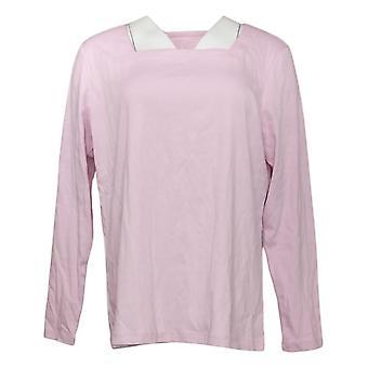 Denim &co. kvinners topp nødvendigheter firkantet nakke langermet rosa A393176