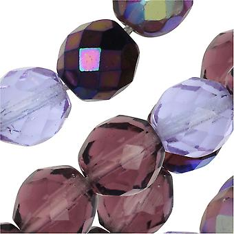 Czech Fire Polished Glass Beads, Faceted Round 10mm, 50 Pieces, Lilac Purple Mix