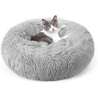 Pet Bed Soft Plush Donut Round Cushion Warming Washable For Small Dogs Kittens(Light Grey)