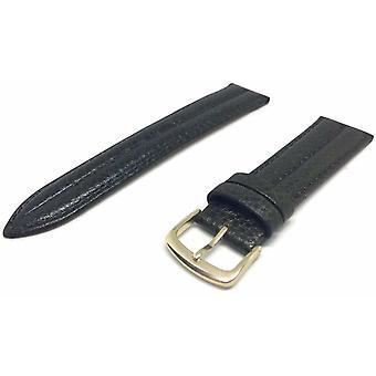 (20mm) Donkergroene dubbele geribbelde gewatteerde plantaardige lederen horlogeband