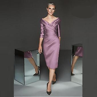 Modern mantja Lilac Satin Dopp V-halsringning Moder Klänning