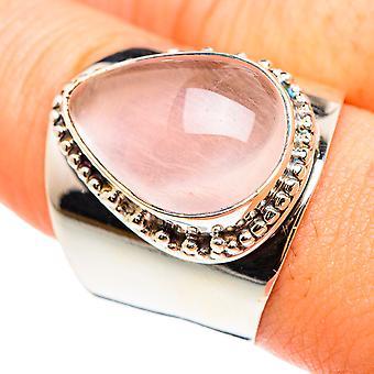 Grande bague en quartz rose taille 10 (argent sterling 925) - Bijoux vintage boho faits à la main RING75574