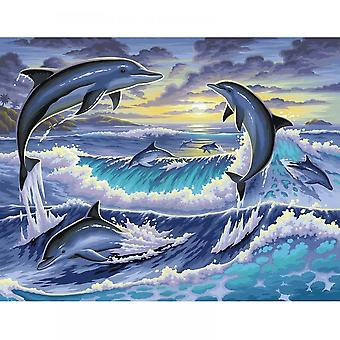 Sequin Art Dolphin Sunrise Large Painting By Numbers